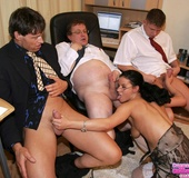 Horny secretary. Teen has to suck on three dicks in order to keep her