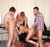 Suck dick. Blonde secretary handles three office cocks wit her body.
