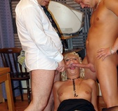 Orgy porn. Sexy blonde secretary loves to fuck her colleagues wild.
