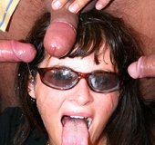 Suck my dick. Busty chick with sunglasses sucks and swallows as a job.