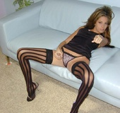 Girl in panties. Those wild, wide-striped black nylons will catch your