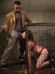 Roughsex. Laurah the caged willing pet got - Unique Bondage - Pic 3