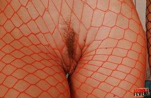 Fishnet tight lesbian