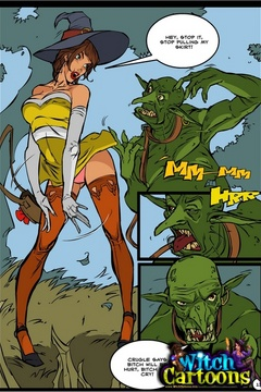 Cartoon porn. Sorceress's twat offered to ogre. - Picture 3