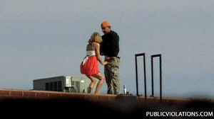 Outdoor public sex. Rooftop blowjob from - XXX Dessert - Picture 1