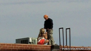 Outdoor public sex. Rooftop blowjob from - XXX Dessert - Picture 2