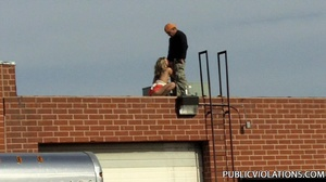 Outdoor public sex. Rooftop blowjob from - XXX Dessert - Picture 3