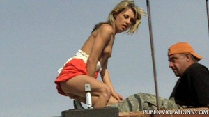 Outdoor public sex. Rooftop blowjob from - XXX Dessert - Picture 4