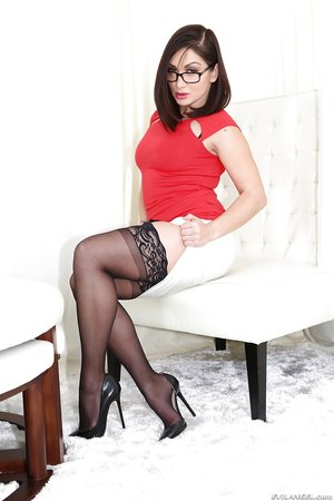Gorgeous black stockings high heels