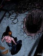 Captor taunts slave by digging her grave. Dumpster Diver By Celestin.