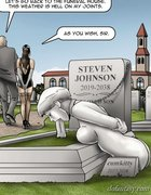 Mourning slave is leashed at a gravesite. For Rent By Erenisch.