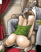 Gal in green heels goes down on an older gent. The Society 2 Purgatory