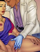 Doctor in latex gloves rubs a hot pussy