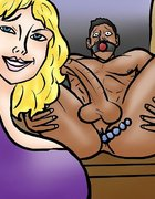 Blonde Domme gags a submissive black loser