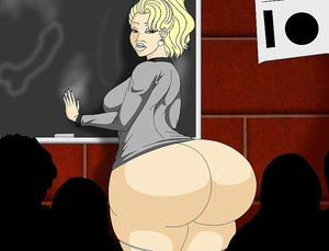Slutty teacher's big ass is on display in class