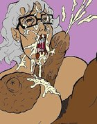 Chesty granny gets it good from a horny black stud
