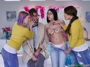 College girl and friends wow a nerdy young man