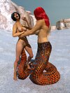 Serpent-like lesbian finds a babe on the beach