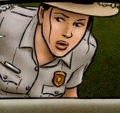 Female park ranger investigates a suspicious vehicle. Breeders: The Next