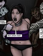Creatures grab a half-naked woman with nice tits. Trick And Treat By Slasher.