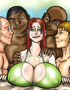 Chesty women in arousing sexual situations