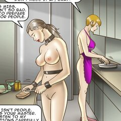 Disgraced slave cleans a toilet with - BDSM Art Collection - Pic 2