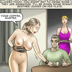 Disgraced slave cleans a toilet with - BDSM Art Collection - Pic 3