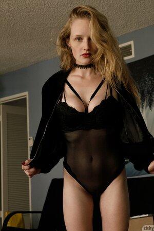 Teen siren in slutty black lingerie