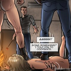 Pretty girl endures branding by Doms. - BDSM Art Collection - Pic 1