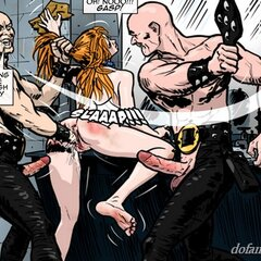 All holes occupied while a hottie is - BDSM Art Collection - Pic 1
