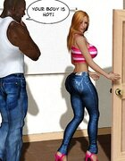 Stacked blonde horny for black man's dick