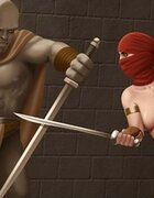 Brute and elf do battle with a naked goddess. World Fist By Ferres.