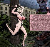 Blonde tied outside after painful flogging. Prison Horror Story 9 By Predondo.