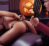 Slutty brunette in stockings punished by strict master. Halloween House