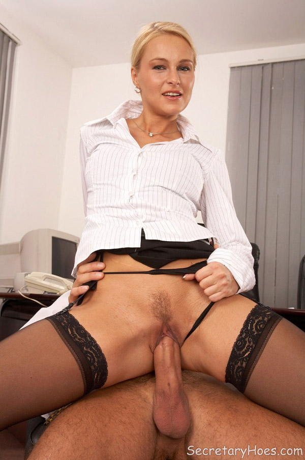 Blonde secretary with glasses fucking in lingerie at the office-15623