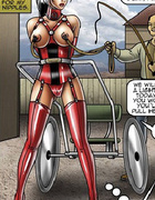 Bdsm art pics of slave gilr in red lingerie being tortured.
