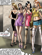 Toon slave beauties in sexy outfit being undressed by cruel guys.