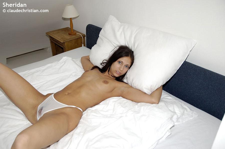 Upskirt white damp spot panties