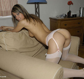 Erotica. Gina in stay ups - Melisa in stockings and garter belt.