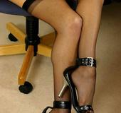 Pantyhose feet. Blonde chauffeur set in stockings.