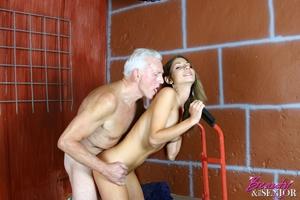 Young old sex. Brunette enjoys stiff sen - XXX Dessert - Picture 12