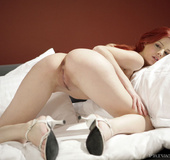 Redhead gallery. Amazing redhead chick spread her legs and shows shaved