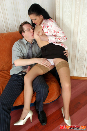 Old young. Office babe paying for her cu - XXX Dessert - Picture 8