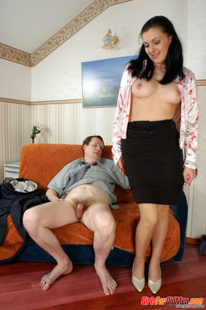 Old young. Office babe paying for her cu - XXX Dessert - Picture 20