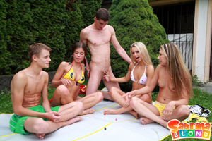 Sexy porn stars. Group of 5 teens playin - Picture 4