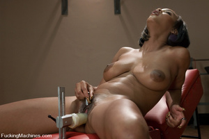 Fuckingmachines. Black babe with D cup t - XXX Dessert - Picture 3