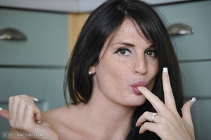 Dark haired girl going messy in the kitc - XXX Dessert - Picture 3